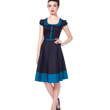 Voodoo Vixen Dark Blue Cap Sleeve Flare Dress
