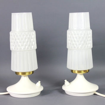 Vintage Table Lamp Pair Bedside Lamps Glass Shade Cone Shape Tulip Stand White Brass 1960s  Retro Space age Atomic Night Lights