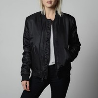 [Bomber Jacket] Womens Nylon Bomber Jacket with Black Zippers in Black