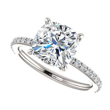 eliza ring - 2.5 carat cushion cut moissanite engagement ring, diamonds, 14k white gold