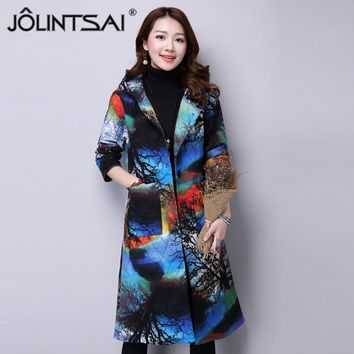 Autumn&Winter 2017 New Vintage Printed Ethnic Wind Jacket Thickening Long Warm Coat Hooded Plus Size Outwear Female Mujer