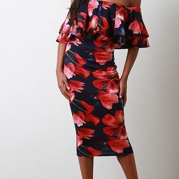 Red Floral Ruffle Boat Neck Short Sleeve Midi Dress