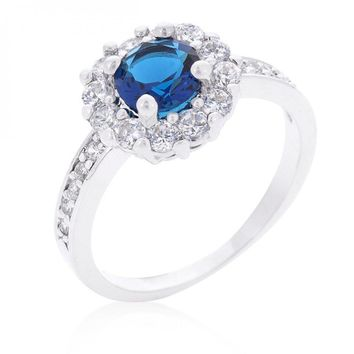 Sapphire Blue Halo Engagement Ring (size: 07) R08347R-C30-07