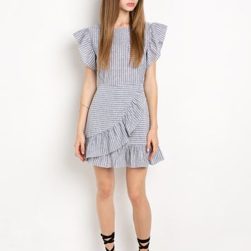 Grey striped ruffled dress