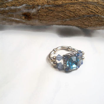 Blue Sapphire Ring Adjustable Beaded Ring
