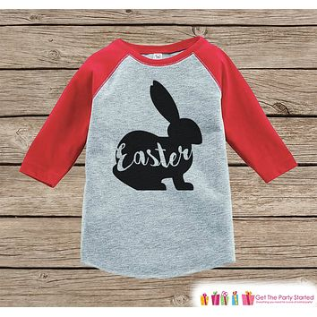 Kids Easter Outfit - Easter Bunny Shirt or Onepiece - Bunny Silhouette Easter Egg Hunt Shirt - Baby, Toddler, Youth - Happy Easter - Red