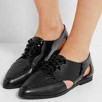 MICHAEL Michael Kors - Jensen Oxford patent and snake-effect leather brogues