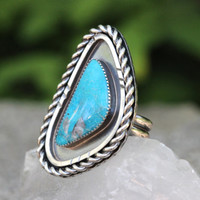 Turquoise Ring Natural Turquoise Ring Turquoise Ring Sterling Silver Nacozari Turquoise Jewelry Blue Stone Ring Statement Ring Size 7