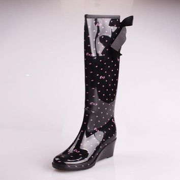 Water Shoes For Women 2015 Ladies Knee High Rain Boots Wedge Leopard Rubber Rainboots