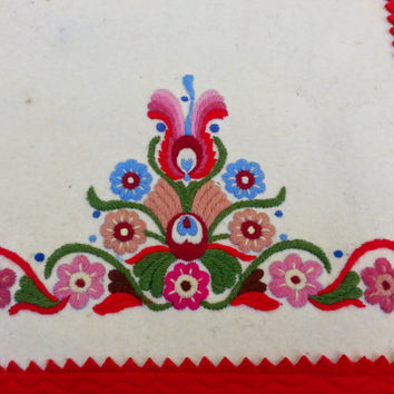 "Vintage Hungarian Embroidered 42"" Felt Runner with Fringe Buffet folk art cottage chic"