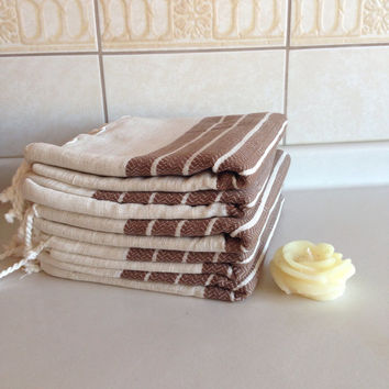 Premium Turkish Towel, Peshtemal, Bath, Beauty, Guest, Bath and Body, Hammam, for her, Bride gift, Wedding, Natural Linen, spa, yoga, Brown