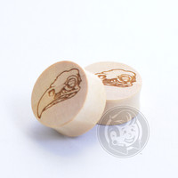 Eagle Skull Engraved Wood Plugs