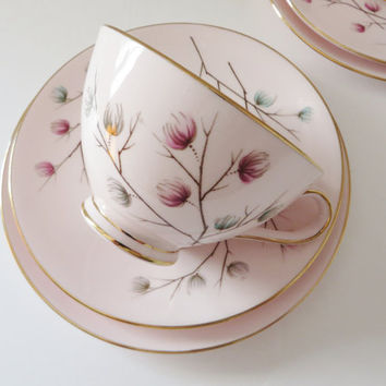 Tuscan vintage 1960's Moondrop tea trio, Pink teacup, Tea,Tuscan china