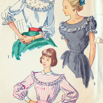 1940s Misses Blouse Office Fashion, Hollywood,  Vintage Sewing Pattern, Simplicity 2483 bust 32""