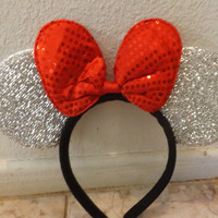 Minnie Mouse ears headband Silver Sparkle Big Red Sequin Bow Mickey