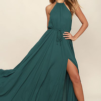 Essence of Style Forest Green Maxi Dress