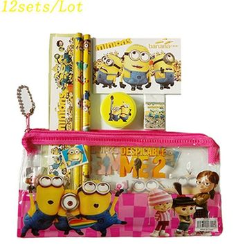 12 sets/lot Red Minion pencil case school pencil case cute cartoon Kids school supplies stationery set for girls teenager