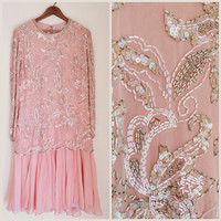 Vintage Beaded Dress // Pale Pink Great Gatsby Dress Sz L