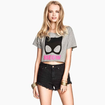 Cartoon MEOW Print Short Sleeve Cropped Graphic Tee