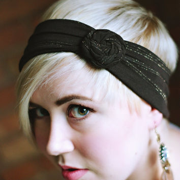 Stretchy  Brown rosette Fashion woman's  Headband hair band  turban head wrap...