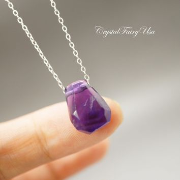 Faceted Rough Amethyst Necklace Sterling Silver Raw Amethyst Choker - Amethyst Jewelry - Chakra Healing February Birthstone Necklace