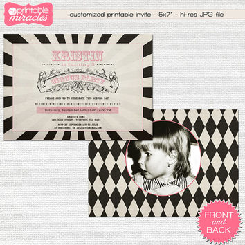 Vintage circus invitation, Printable carnival invite, Circus birthday party invitation, Pink circus invite / customized for kids or adults
