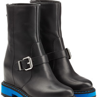 Fendi - Leather Wedge Boots with Contrast Midsole