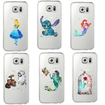 Beauty of the beast stitch Soft Case For Samsung Galaxy S5 S6 Edge S7 S8 Plus Mermaid princess Mickey Mouse angel watercolor art