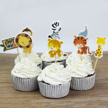 24pcs Animal Theme Cupcake Topper, Birthday Decoration, party favors