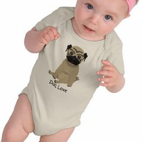 Baby pug love Onesuit t-shirts from Zazzle.com