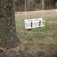 Rope tree swing for twins swing for two toddlers personalized white