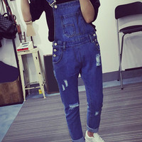 Pocket Detail Frayed Denim Overalls