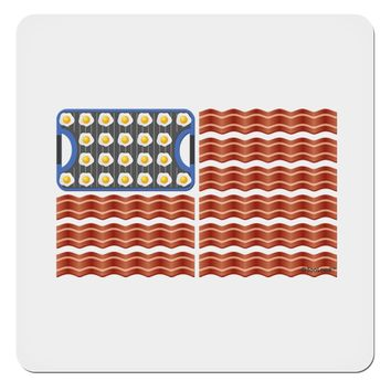"""American Breakfast Flag - Bacon and Eggs 4x4"""" Square Sticker"""