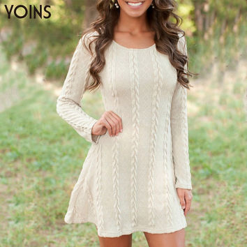 YOINS New Arrivals 2016 Spring Women Dress Fashion Slim A-line Twist Sweater Mini Dresses Casual Long Sleeve Warm Knit Dress