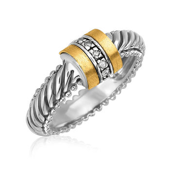 18K Yellow Gold and Sterling Silver Diamond Italian Cable Ring (.04 ct. tw.)