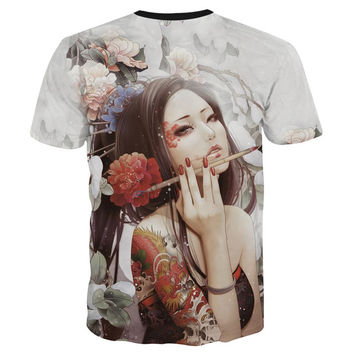 Classic New Fashion men&'s 3D t-shirt funny printed Classical sexy tattoo beauty flowers top tees 3d