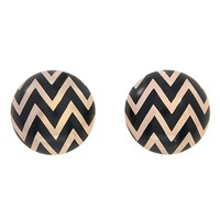 Chevron Bauble Earrings-Black