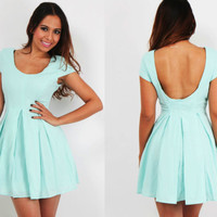 NEW Mint Green Box Pleat Skater Dress Low Back Casual Chic Cocktail XS S M L