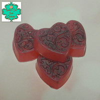 Filigree Heart soap set - The Power of Love scent - Valentine's Day, Handmade soap