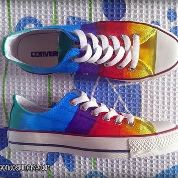Rainbow Custom Converse / Colorful Painted Shoes / Low Tops