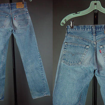 90s Levis Jeans Vintage 1990s Grunge Distressed 501 Button Fly Dungarees Denim Holes XS W 26 L 30