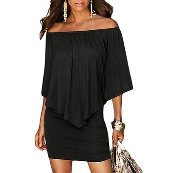 Multiple Dressing Layered Ruffles Black Mini Dress