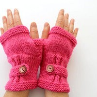 Autumn Finds/ Arm Warmer / Hand Knit Fingerless Gloves / Pink /  /Medium size fits most. / Autumn color/ Front Page