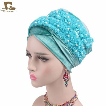 2017 New FASHION women Velvet turban 3D beaded flower Extra Long Head Wraps Hijab Head Scarf headscarf