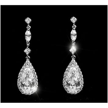 Mia Pear Drop Dangle Earrings |  4ct | Cubic Zirconia | Silver