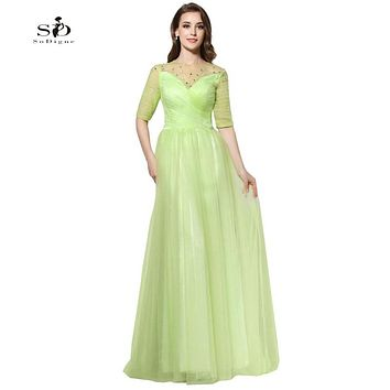 Lime Green Prom Dresses Sale Cheap Prom Gowns 2017 Beads A-line Plus Size Formal Dresses Tulle Gown Elegant Evening Dresses