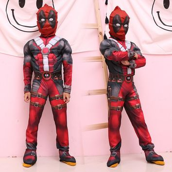 superhero cosplay Muscle deadpool halloween costumes for kids girls boys children with mask Onesuit red Carnival avengers Fancy