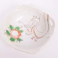 Vintage Dragon Bowl Lotus Flower Japan Moriage Embossed Hand Painted Orange Porcelain Double Handles