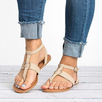 Rotate Thong Beige Sandals