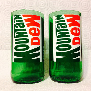 Mountain Dew Soda Pop Bottle Tumbler Glasses. Recycled Glass Bottles. Novelty Glasses.